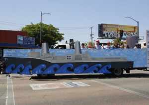 Memorial Day Parade Float with a ship motif